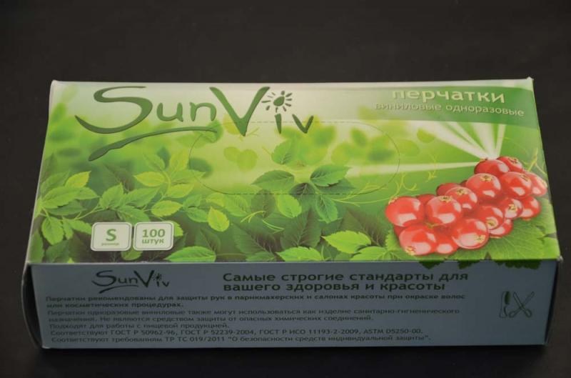 Перчатки смотровые виниловые SunViv